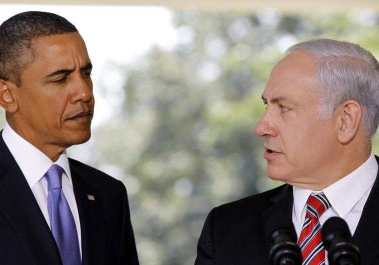 U.S. President Barack Obama (L) listens as Israeli Prime Minister Benjamin Netanyahu delivers a statement to the media from the Colonnade outside the Oval Office of the White House in Washington September 1, 2010. REUTERS/Jason Reed (UNITED STATES - Tags: POLITICS IMAGES OF THE DAY) - RTR2HSTC