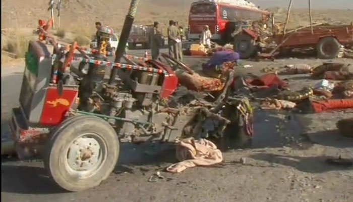 A view of the tractor-trolley that collided with the bus. Photo: Geo News